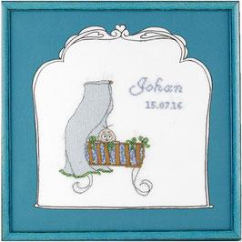 Borduurpakket blauwe wieg geboortetegel.