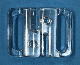 Bikini sluiting rechthoek 20 mm transparant kunststof