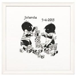 Jip & Janneke met de blokken borduurpakket