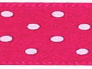 Satijnlint met stip donker roze