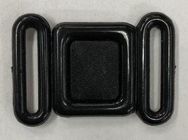 Zwarte kunststof bikini sluiting vierkant 15 mm