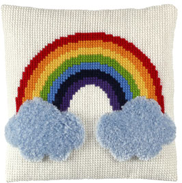 Regenboog  kruissteek/knoopborduurkussen  .