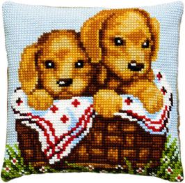 Retriever puppies kruissteek borduurkussen