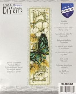 Bladwijzer borduurpakket met een vlinder met bloemen.