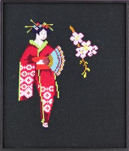 Geisha met bloem telpatroon