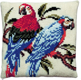 Papegaaien kruissteek borduurkussen