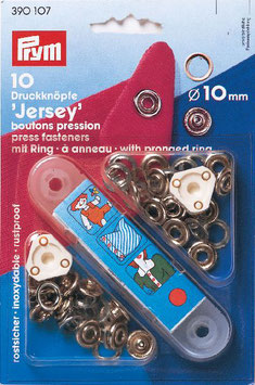 Drukknopen inslaan zilver kleur voor tricot open ring 10 mm