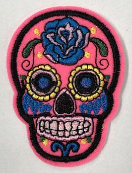 Roze met blauw doodshoofd applicatie