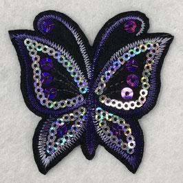 Pailletten vlinder applicatie paars
