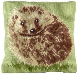 Kruissteek borduurkussen met een egel