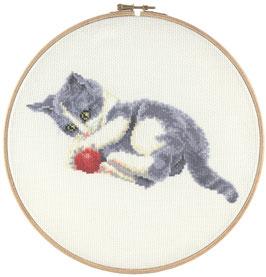 Spelende kitten borduurring telpatroon