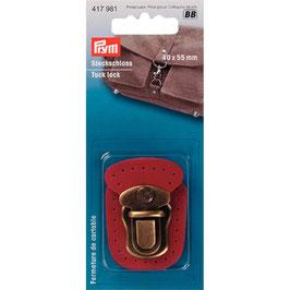 Insteeksluiting brons kleur op rood leer bevestigd.