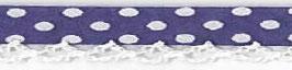 Bolletjes biasband met een kantje donker paars