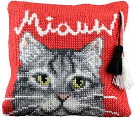 Kat met text miauw en 2 kwastjes kruissteek borduurkussen