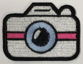 Witte camera met roze streep applicatie