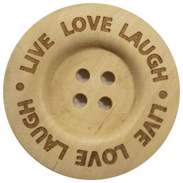 Houten knoop van Durable met de text live love laugh 40 mm