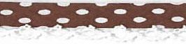 Bolletjes biaisband met een kantje donker bruin