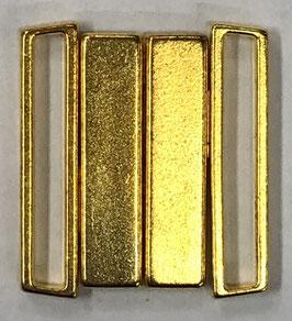 Bikini sluiting rechthoek 25 mm goudkleur