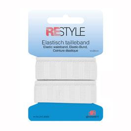 Wit elastisch tailleband 25 mm