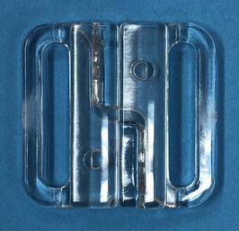 Bikini sluiting rechthoek 25 mm transparant kunststof