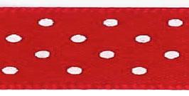 Satijnlint met stip rood