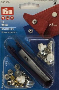 Mini drukknoop inslaan zilver kleur 8 mm