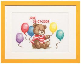 Borduurpakket met een beertje met ballonnen.