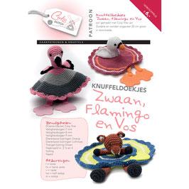 Cute Dutch patroonboekje van knuffeldoekjes Zwaan, flamingo en vos