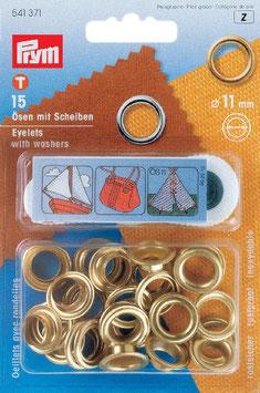 Ringen met schijven 11 mm goudkleurig