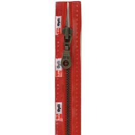 Signaal rode rits met brons kleur metaal