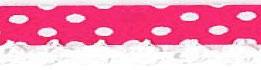 Bolletjes biasband met een kantje donke roze