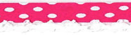 Bolletjes biaisband met een kantje donke roze