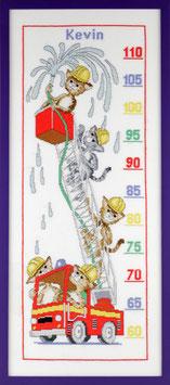 Borduurpakket van een groeimeter met brandweerpoezen.