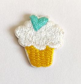 Cupcake met een mintkleur hartje applicatie zelfklevend