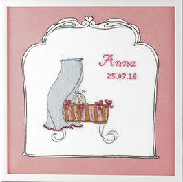 Borduurpakket roze wieg geboortetegel.