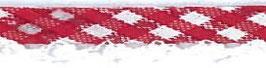Ruitjes biaisband met een kantje rood