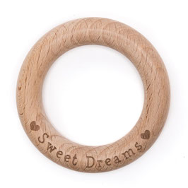 Durable speelgoedring van hout met de text sweet dreams