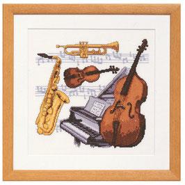 Borduurpakket van muziekinstrumenten.