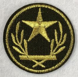 Rond leger embleem met gouden ster en 2 takken applicatie