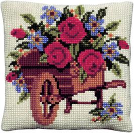 Kruiwagen met bloemen kruissteek borduurkussen
