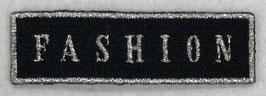 Text fashion zilver op zwart applicatie