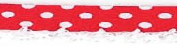 Bolletjes biaisband met een kantje rood