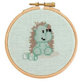 DenDennis Little Woodland Adventures Embroidery kit Heather Hedgehog mint