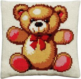 Teddybeer met rode strik kruissteek borduurkussen