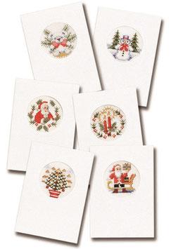 6 borduurkerstkaarten inclusief 6 enveloppen 6x witte kaarten