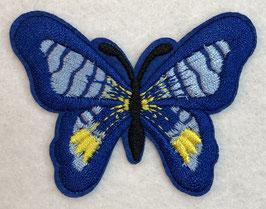 Applicatie vlinder blauw met een zwart lijf