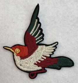 Lichtgrijs met rood en groen  vogeltje applicatie
