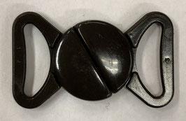 Bruine kunststof bikini sluiting 2 halve rondjes 15 mm