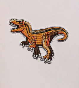 Oranje Velociraptor dinosaurus applicatie