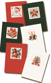 6 borduurkerstkaarten inclusief 6 enveloppen 2x groene 2x rode en 2x witte kaarten